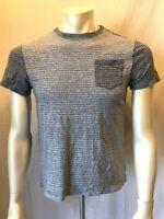 Tommy Hilfiger Men's Small Blue Striped Crew Neck Short Sleeve Pocket T-Shirt