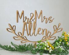 Personalized Wedding Mr and Mrs Custom Name Natural Wood Rustic Cake Topper