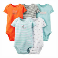 NEW Carter's Baby Boy 5 Pack Bodysuit Set Blue Orange Puppy Dog 3 Months