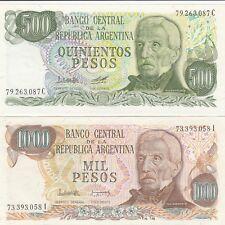 1976 ARGENTINA  BANCO CENTRAL BANKNOTES (2) 1000 & 500 PESOS