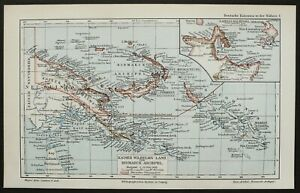1897 Antique map PAPUA NEW GUINEA. Oceania. Pacific Ocean. 123 years old chart.