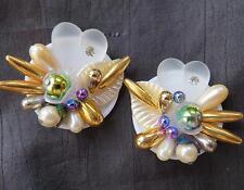 """Cute Vintage Large Fancy Baubles on White Base Heart Shape Clip Earrings 1-1/2"""""""