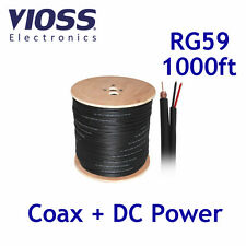 1000ft RG59 Siamese Black Cable Coaxial Power 1000 ft Reel CCTV Wire RG-59 Bulk