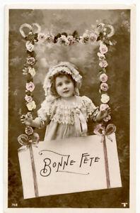 c 1910 Child Children Kids PRETTY LITTLE GIRL photo postcard