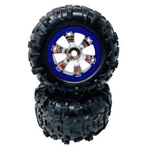 Traxxas Summit Front & Rear - Purple & Chrome Geode Wheels - Canyon 3.8 Tyre x2