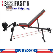 Gym Adjustable Weight Lifting Bench Barbell Multifunctional Exercise Fitness US