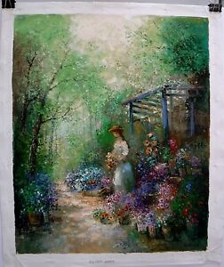 "Willi Bauer ""Flower Merchant"" Original Oil On Canvas Painting 31""x 27"""