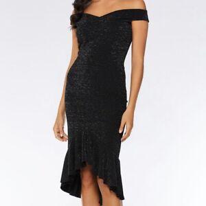 QUIZ dress, Black Glitter Bardot Dip Hem Dress, RRP £30
