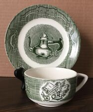 Lot of 4 Royal China The Old Curiosity Shop Tea Coffee Cup & Saucer  Set Green