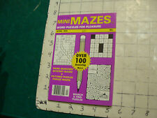 vintage UNUSED puzzle book: MINI MAZES --WORD puzzles for pleasure APRIL 1976