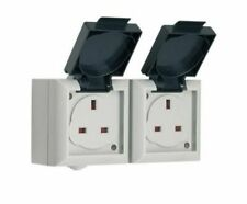 SMJ Double Socket Outdoor/Exterior 13 Amp Twin - IP54 Rated - Easy Access Flaps