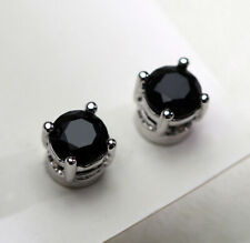 C02 Ohrring versilbert schwarzer Zirkonia Magnetverschluß ohne Ohrlöcher