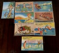 Lot of 8 Vintage Linen~Fish~Humor~Fishing~Comic Funny Postcards~7 Unused~c603