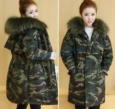 New Womens Hooded Faux Fur Collar Camouflage Parka Cotton Camo Coat Jackets SIZE
