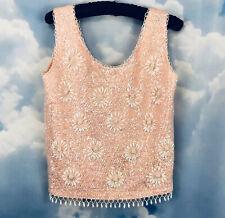 Vintage Sequin Beaded Top Pink White Lambswool Harilelas Hong Kong 34