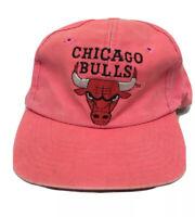 VTG 90s Chicago Bulls Faded Pink NBA Basketball Twins Enterprise Snapback Hat
