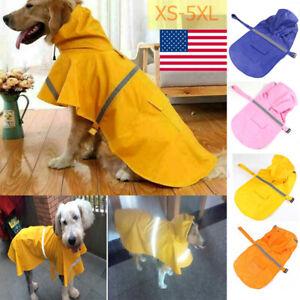 Pet Rainwear Raincoat Clothes Waterproof Reflective Dog Cat Hoodie Jacket XS-5XL