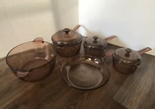 Vintage 8 pc Lot Corning Pyrex Vision Ware Amber Glass Cookware Pots Pan Lids