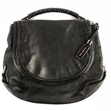 Micheal Kors Collection Skorpios Flap Shoulder Bag Handbag Black Leather Braided