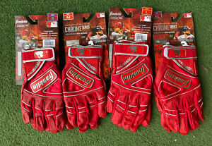 FRANKLIN CHROME POWERSTRAP ADULT BATTING GLOVES - RED