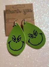 Handmade Grinch Lime Green Teardrop Faux Leather Earrings