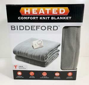 Biddeford Comfort Knit Fleece Heated Electric Blanket, Twin, Gray. BRAND NEW