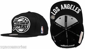 NBA Los Angeles Clippers Mitchell and Ness Black & White Snapback Hat Cap NM95Z