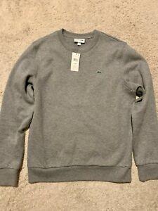 Men's New Lacoste Sweatshirt Pullover Gray 4 M Medium Galaxite Chine SH3284