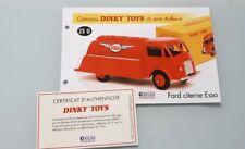DINKY TOYS ATLAS Fiche Fascicule Certificat réf 25U Ford Citerne Esso
