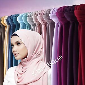 New DUBAI made Premium Plain Chiffon Maxi Hijab Scarf Shawl Head Wrap Sarong