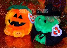 1997 PUFFKINS WITCH & JACK-O'-LANTERN PLUSHES Halloween plush 1st year original