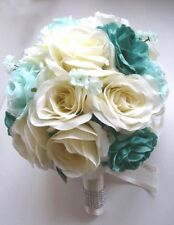 17pcs Wedding Bouquet Bridal Silk flowers TEAL MINT CREAM decoration centerpiece