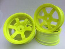 Rc Car 1/10 Drift 5 Spoke 37R Rims Wheels 6mm Offset fits Tamiya HPI YELLOW x 4