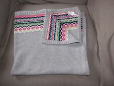 """CARTERS OS BABY GIRL GRAY PINK FAIR ISLE KNIT SWEATER BLANKET 36"""" X 34"""""""