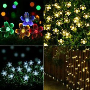 100LED Lichterkette Solar Blumen Lichterkette Außenbeleuchtung Weihnachten Licht