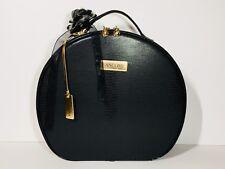 Lancôme Cosmetic Makeup Train Case Black Faux Leather with Removable Flower Clip