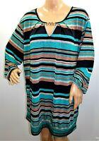Lapis Women Plus Size 3x Green Black Striped Melange Tunic Top Blouse Shirt