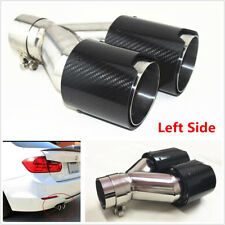 Universal Real Carbon Fiber Car Exhaust Dual TWIN End Tips 2.5''-3.5'' Left Side