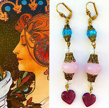 Victorian Sty EARRINGS Pink Glass Purple Crystal Czech Heart Drops Dangler #1164