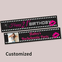 """18th 21st Party Decoration """"Happy Birthday""""  Fabric Canvas Banner CUSTOMISED"""