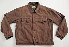 Men's CABELA'S Brown Denim Trucker Jean Jacket  Flannel Lined Size Small