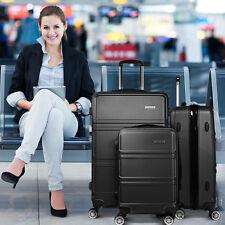 *NEW* Wanderlite 3pce ABS Hard Shell Luggage Set W/ TSA Locks, Dual Wheels Black
