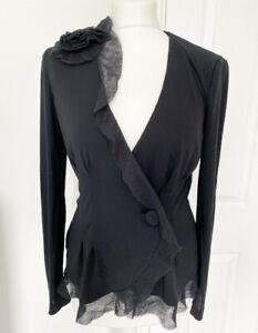 Black Emporio Armani Blazer Jacket Frill Fit Stretchy 14 Shoulder Rose