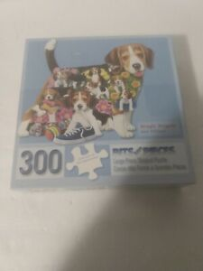 Bits & Pieces LARGE 300 pc Puzzle BEAGLE BRIGADE Dog Shaped Complete