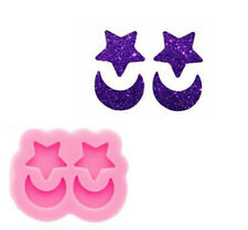 Glossy Mini Star and Moon Earrings Silicone Mold, Epoxy Resin DIY Craft Jewelry
