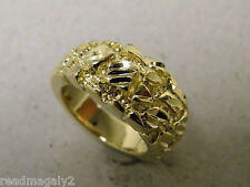 Men's Round Nugget Yellow Gold Plated Ring Size 10 Round Hand Cut Accents Solid