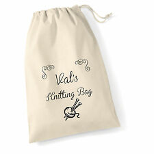 Personalised Vintage Style Cotton Knitting Bag/Sack 45 X 30 CM