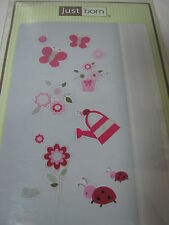 """Just Born """"Garden"""" Removable Wall Appliques Decals  Lady Bugs Butterfly Flowers"""