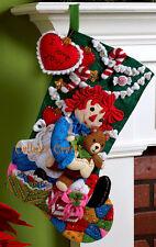 "Bucilla Christmas Morning Raggedy Ann ~ 18"" Felt Stocking Kit #86236 - NEW 2010"