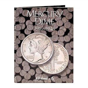 H E HARRIS 2683 Coin Folder MERCURY DIMES 10 Cents 1916 - 1945  Album / Book